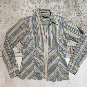Limited striped button down shirt.